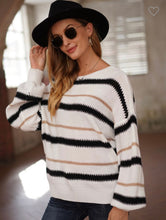 Load image into Gallery viewer, Black and White Gold shimmer sweater