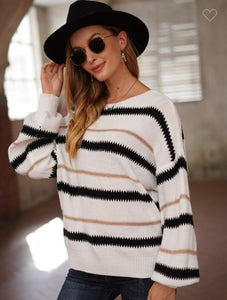 Black and White Gold shimmer sweater