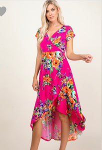 Fuchsia floral high low maxi dress