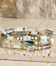 Load image into Gallery viewer, Triple layer natural stone bracelet