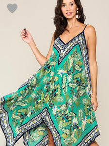 Tropical Asymmetric hem dress