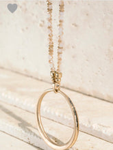 Load image into Gallery viewer, Glass Bead Gold Plated Ring Necklace