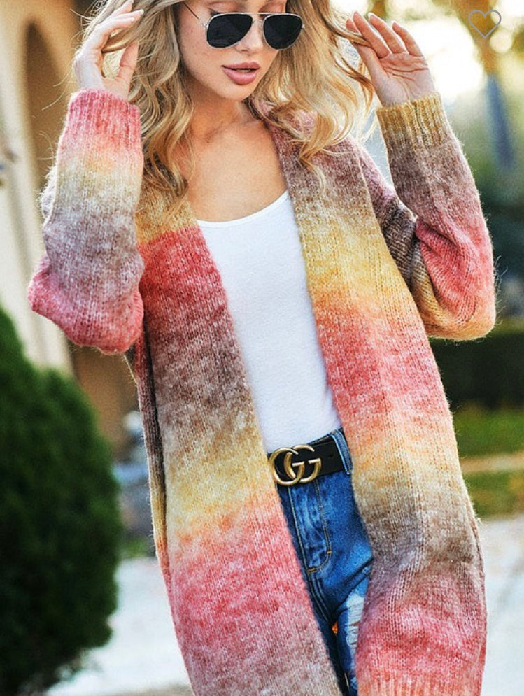 Multi color open front cardigan