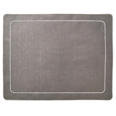Linho Simple Rectangular Placemat Charcoal / White - Set of 2