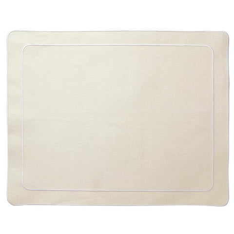 Linho Simple Rectangular Placemat Ivory / White - Set of 2
