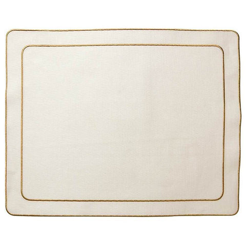 Linho Simple Rectangular Placemat Ivory / Gold - Set of 2