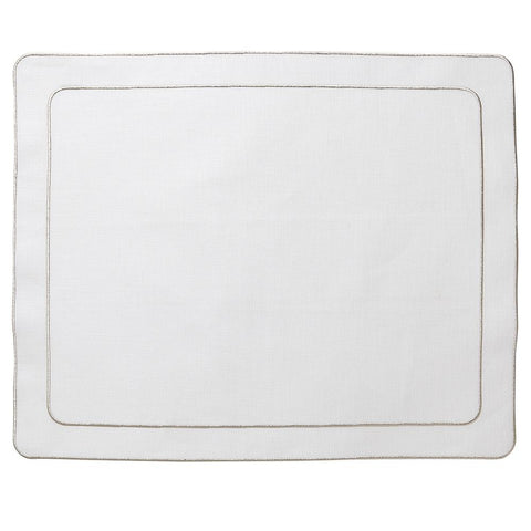 Linho Simple Rectangular Placemat White / Platinum - Set of 2