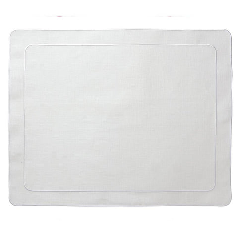 Linho Simple Rectangular Placemat White / White - Set of 2