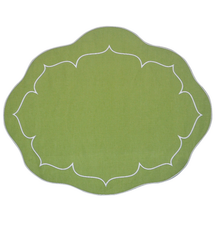 Linho Oval Linen Mat Green - Set of 2