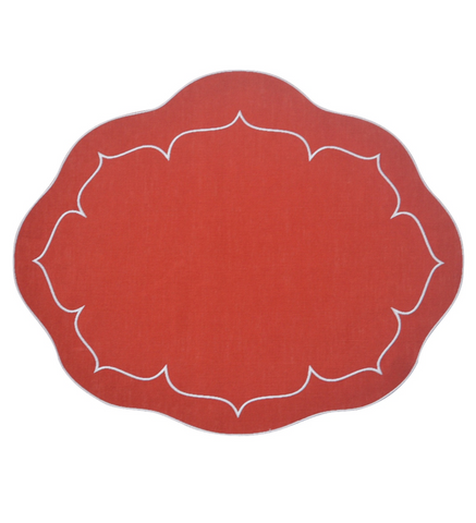 Linho Oval Linen Mat Brick Red - Set of 2