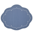 Linho Oval Linen Mat Blue - Set of 2