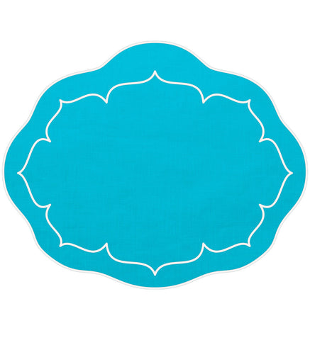Linho Oval Linen Mat Turquoise – Set Of 2