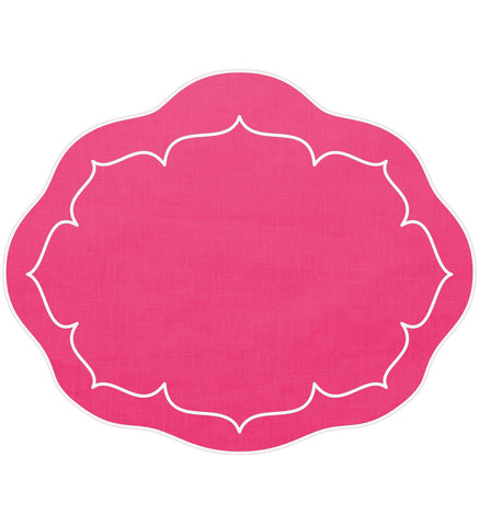 Linho Oval Linen Mat Fuchsia – Set Of 2
