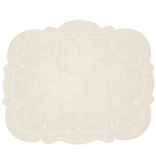 Linho Scalloped Rectangular Linen Mat Ivory - Set of 2