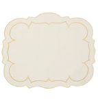 Linho Scalloped Rectangular Linen Mat Ivory w/ Gold - Set of 2