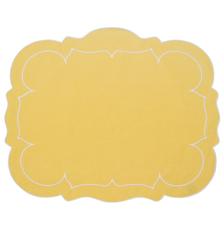 Linho Scalloped Rectangular Linen Mat Yellow - Set of 2