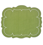 Linho Scalloped Rectangular Linen Mat Green - Set of 2