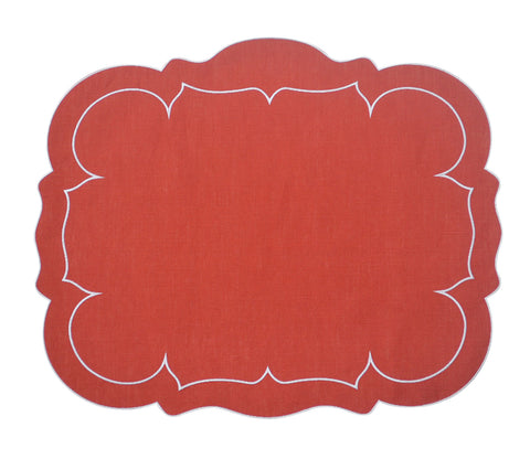 Linho Scalloped Rectangular Linen Mat Brick Red - Set of 2