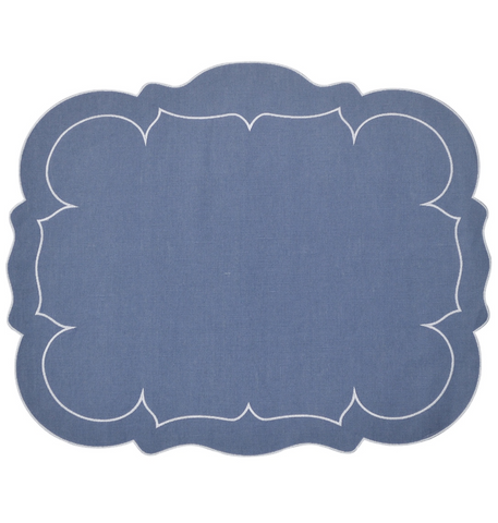 Linho Scalloped Rectangular Linen Mat Blue - Set of 2