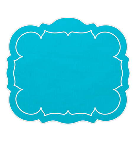 Linho Scalloped Rectangular Linen Mat Turquoise – Set of 2