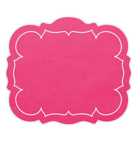 Linho Scalloped Rectangular Linen Mat Fuchsia – Set Of 2