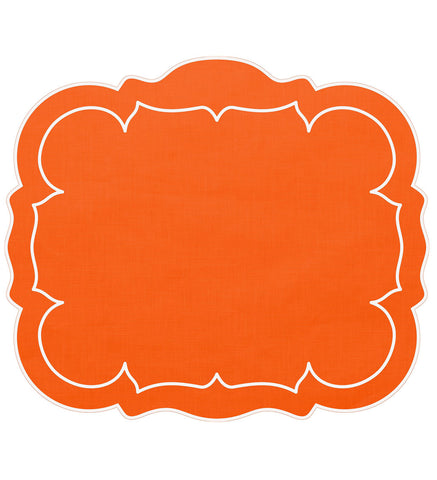 Linho Scalloped Rectangular Linen Mat Orange – Set Of 2