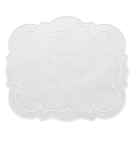 Linho Scalloped Rectangular Linen Mat White – Set Of 2