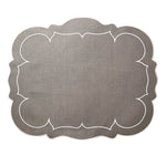 Linho Scalloped Rectangular Linen Mat Charcoal – Set Of 2