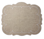 Linho Scalloped Rectangular Linen Mat Dark Natural - Set of 2
