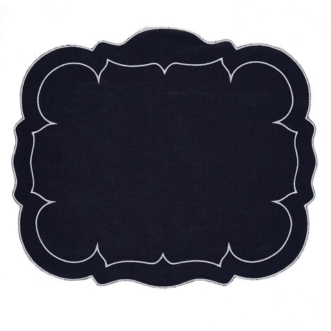 Linho Scalloped Rectangular Linen Mat Navy – Set Of 2