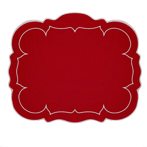 Linho Scalloped Rectangular Linen Mat RedRed – Set Of 2