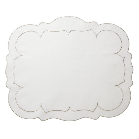 Linho Scalloped Rectangular Linen Mat White w/ Platinum – Set Of 2