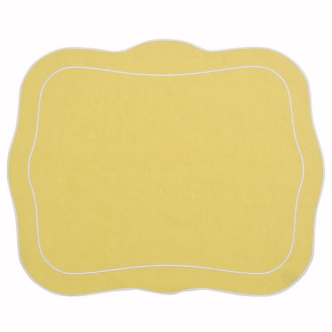 Linho Patrician Linen Mat Yellow - Set of 2