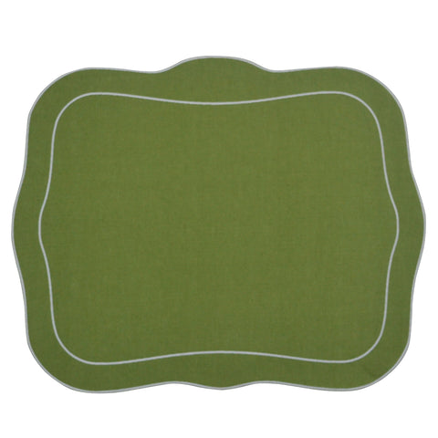 Linho Patrician Linen Mat Green - Set of 2