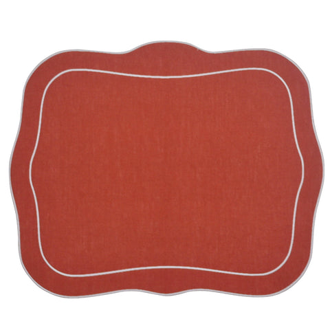 Linho Patrician Linen Mat Brick Red - Set of 2