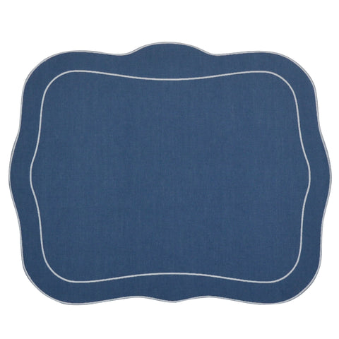 Linho Patrician Linen Mat Blue - Set of 2