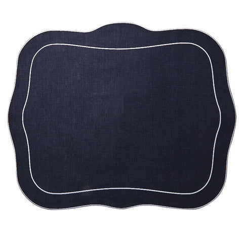 Linho Patrician Linen Mat Navy – Set Of 2