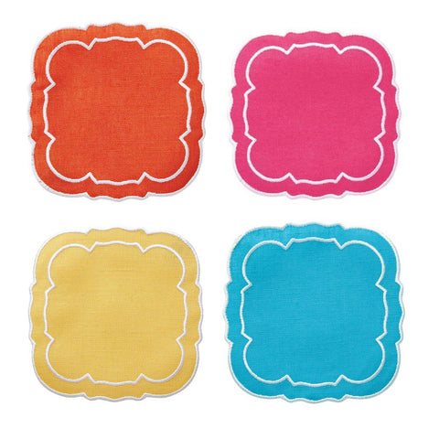 Linho Scalloped Square Coaster Assorted - Set of 4