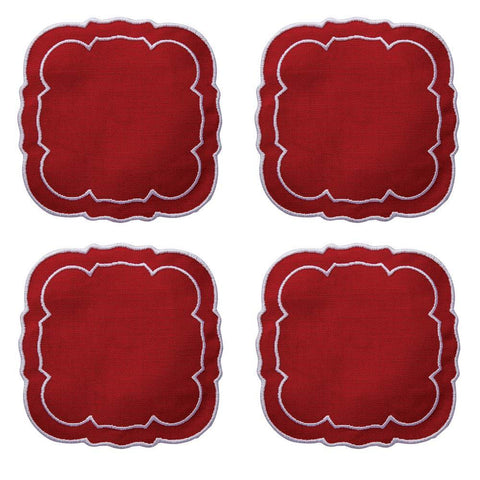 Linho Scalloped Square Coaster Red Red / White - Set of 4