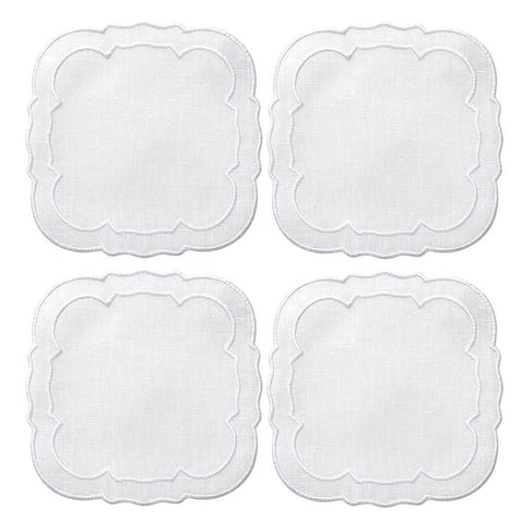 Linho Scalloped Square Coaster White / White - Set of 4