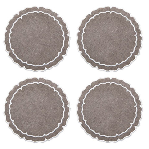 Linho Scalloped Round Coaster Charcoal / White - Set of 4