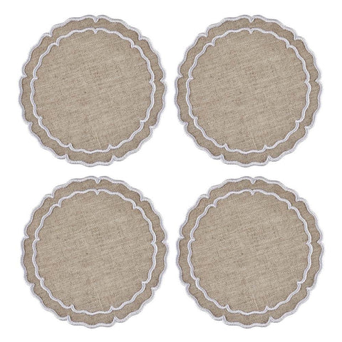 Linho Scalloped Round Coaster Dark Natural / White - Set of 4