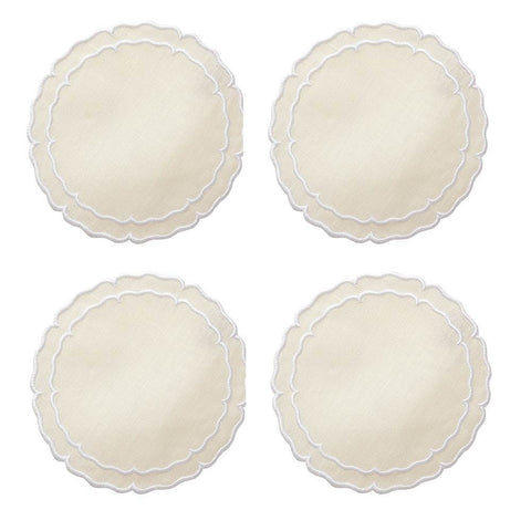 Linho - Scalloped Round Coaster Ivory / White - Set of 4