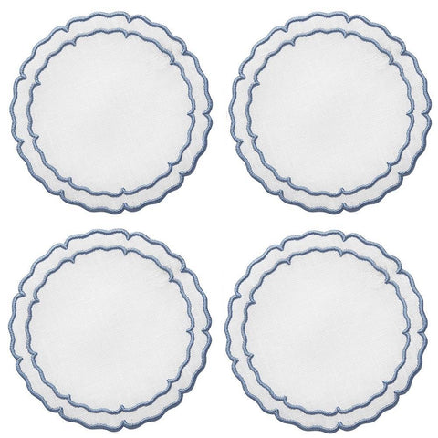 Linho Scalloped Round Coaster White / Blue - Set of 4