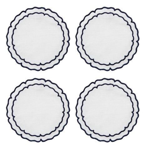 Linho Scalloped Round Coaster White / Navy - Set of 4
