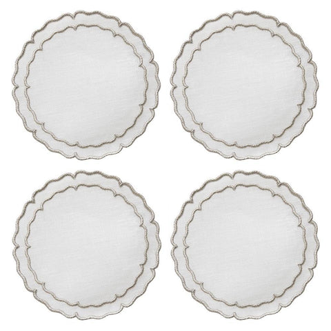 Linho Scalloped Round Coaster White / Platinum - Set of 4