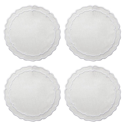 Linho Scalloped Round Coaster White / White - Set of 4