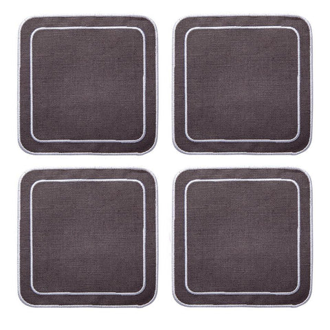 Linho Simple Square Coaster Charcoal / White - Set of 4