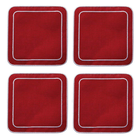 Linho Simple Square Coaster Red Red / White - Set of 4