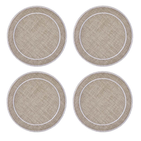 Linho Simple Round Coaster Dark Natural / White - Set of 4